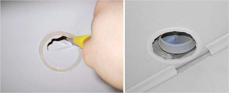 Как сделать отверстие в натяжном потолке после установки 233