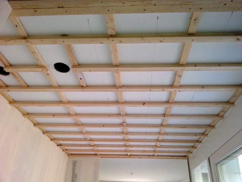 подвесной потолок из гипсокартона на деревянном каркасе
